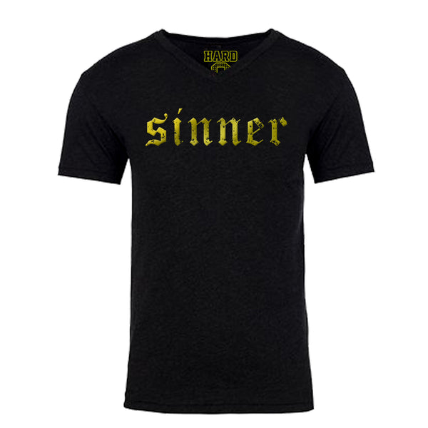 "Men's ""SINNER"" Sueded Cotton Blend V-Neck Black/Gold"