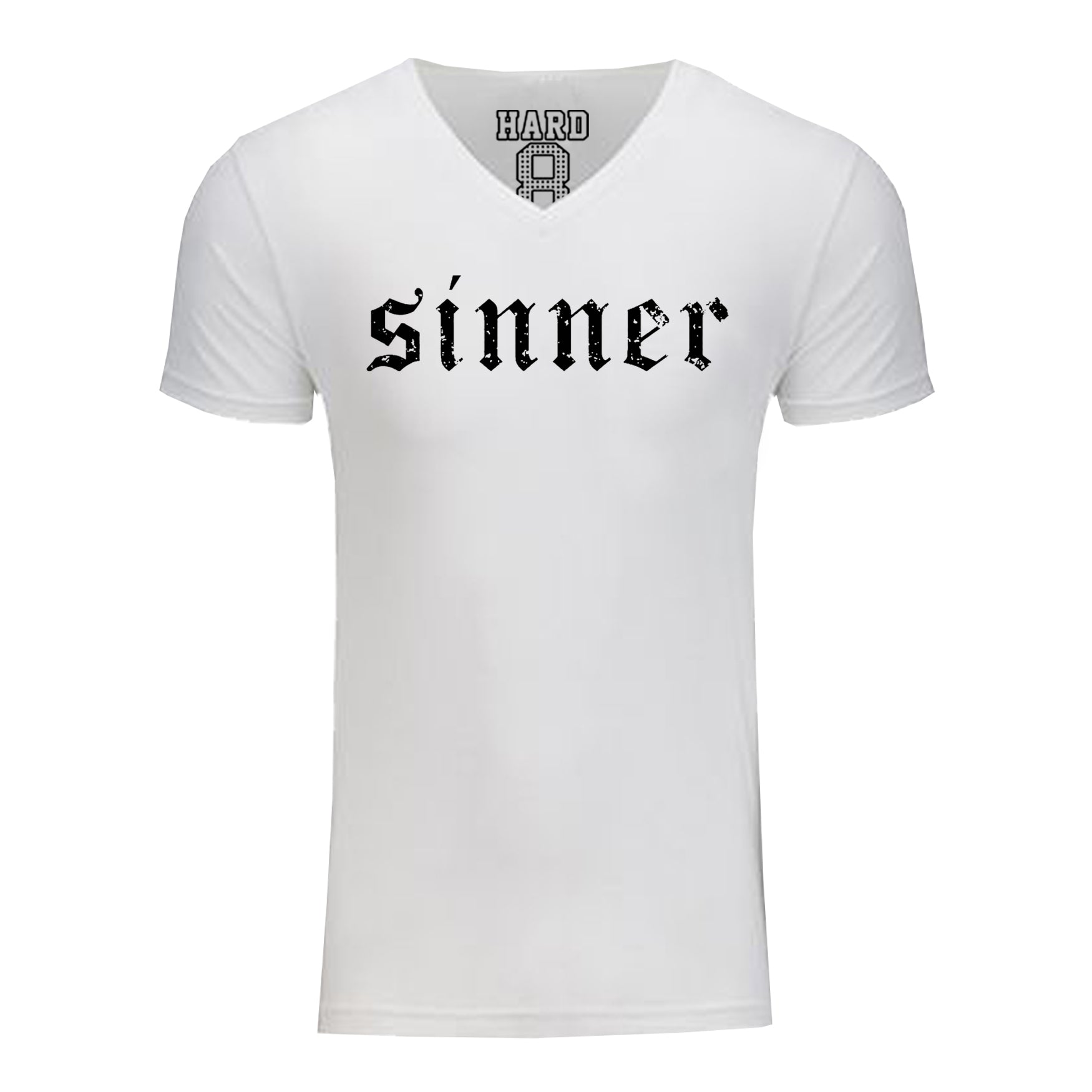 "Men's ""SINNER"" Sueded Cotton Blend V-Neck White/Black"