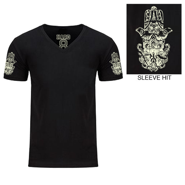"Men's ""HINDU HAMSA"" Double Sleeve Print Sueded Cotton Blend V-Neck Black/Natural"