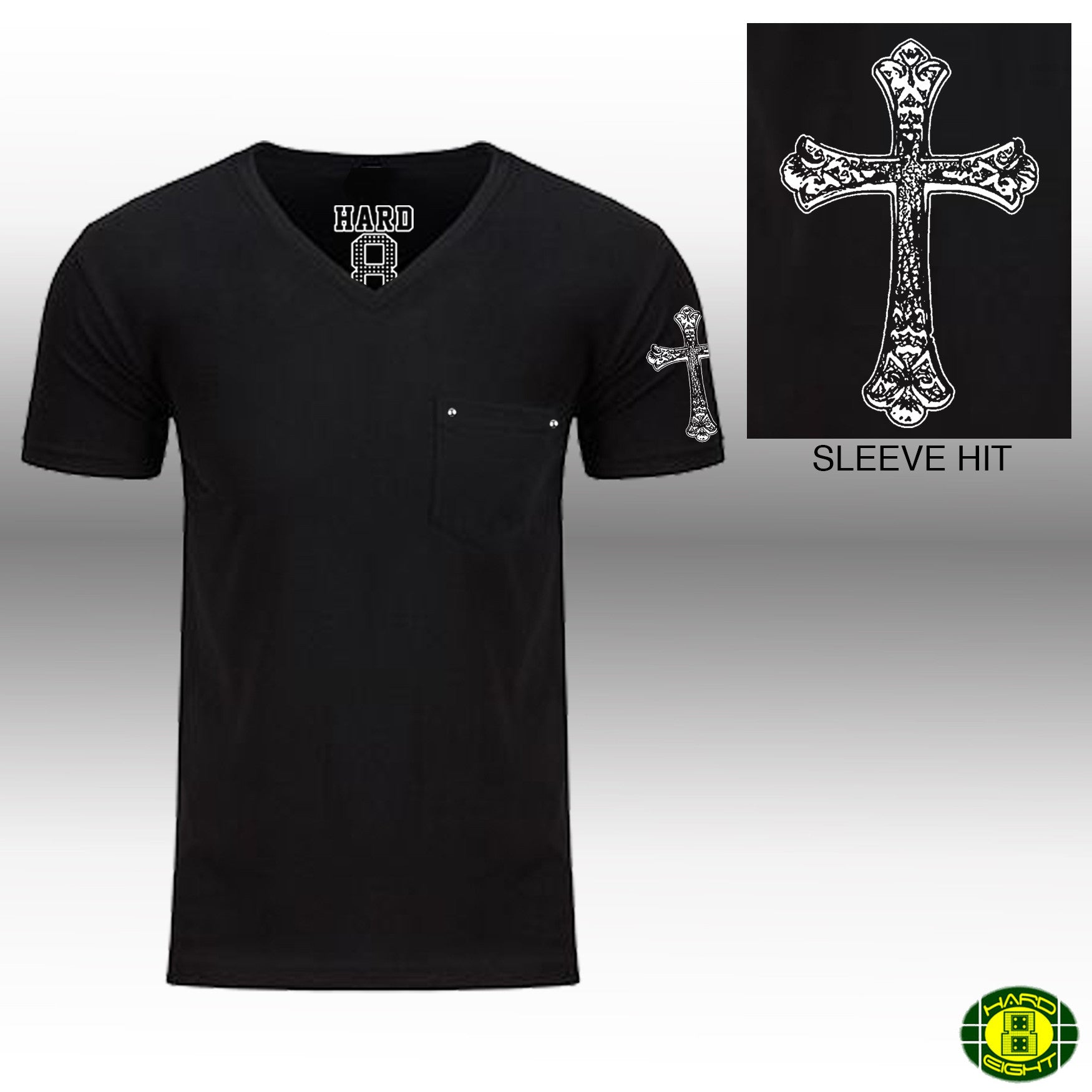 "MEN'S ""GOTHIC CROSS SLEEVE"" 1 POCKET COTTON BLEND V-Neck Black SIZE XL"