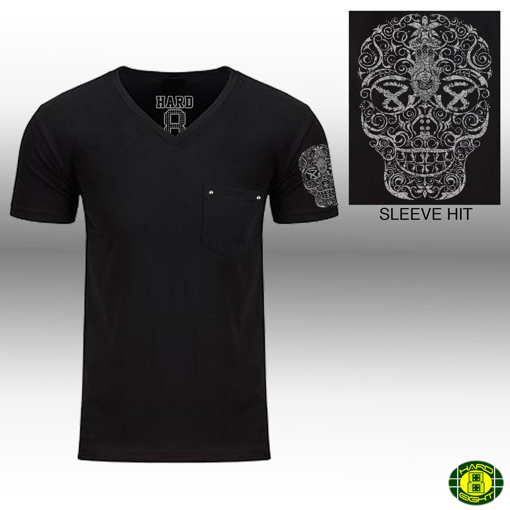 "MEN'S ""HAND DRAWN SKULL SLEEVE"" 1 POCKET V-Neck Black"