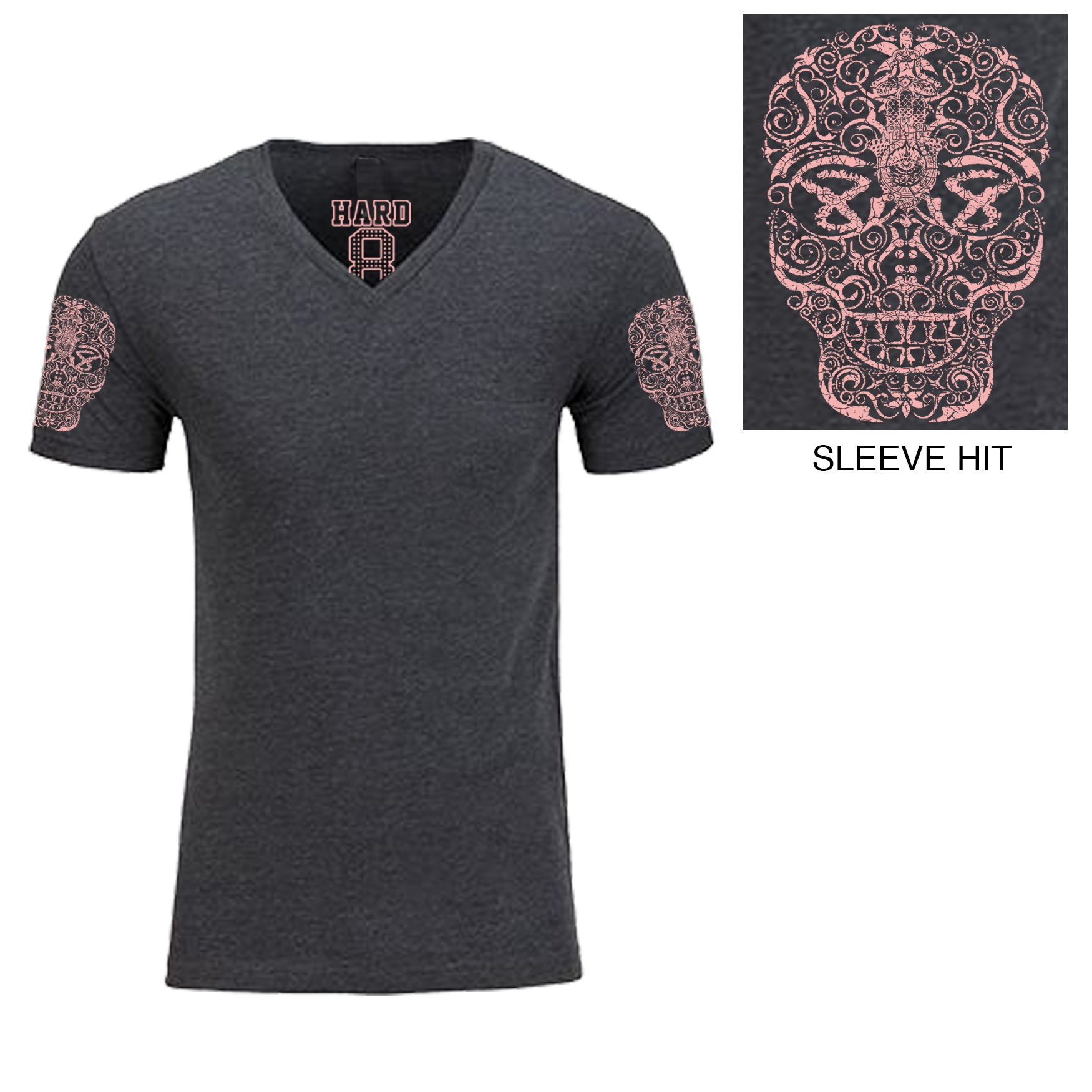 "Men's ""HAND DRAWN SKULL"" Double Sleeve Print Cotton Blend V-Neck Charcoal Heather/Pink"