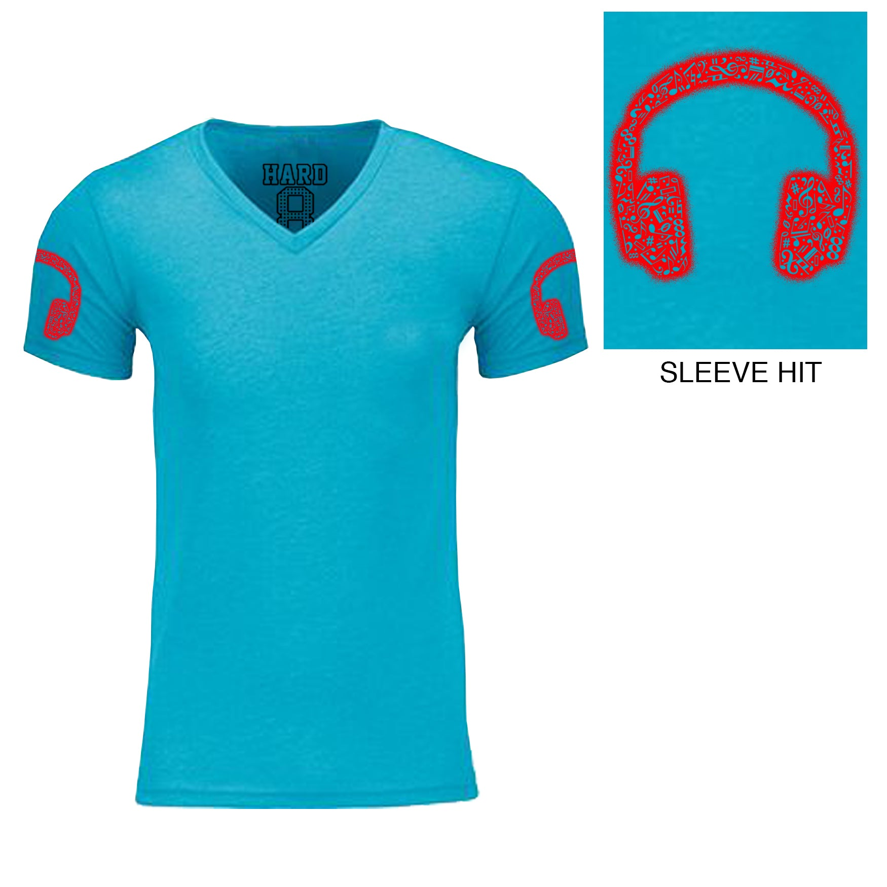 "Men's ""MUSIC HEADPHONES"" Double Sleeve Print Sueded Cotton Blend V-NeckTurq/Red"