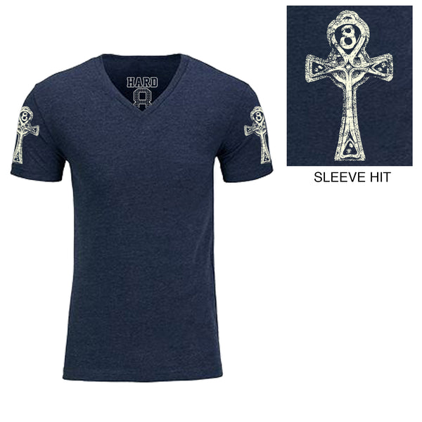 "Men's ""ANKH"" Double Sleeve Print Sueded Cotton Blend V-Neck Navy/White"