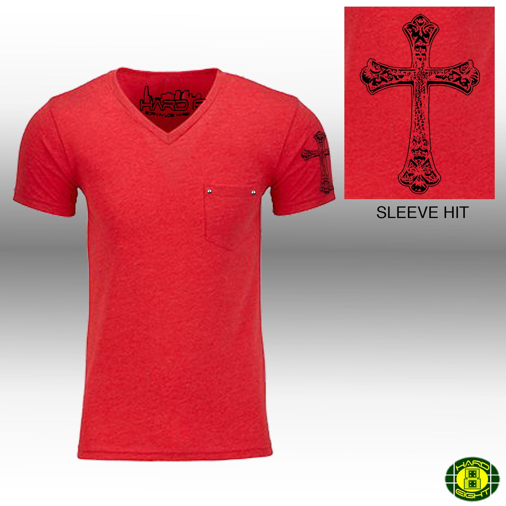 "MEN'S ""GOTHIC CROSS SLEEVE"" 1 POCKET V-Neck Red"