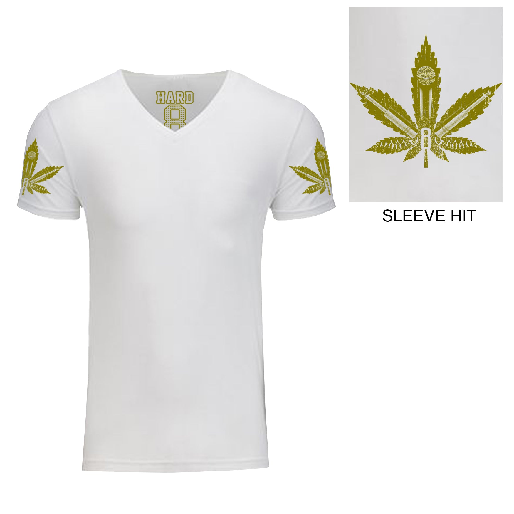 "Men's ""MIC LEAF"" Double Sleeve Print Sueded Cotton Blend V-Neck White/Gold"