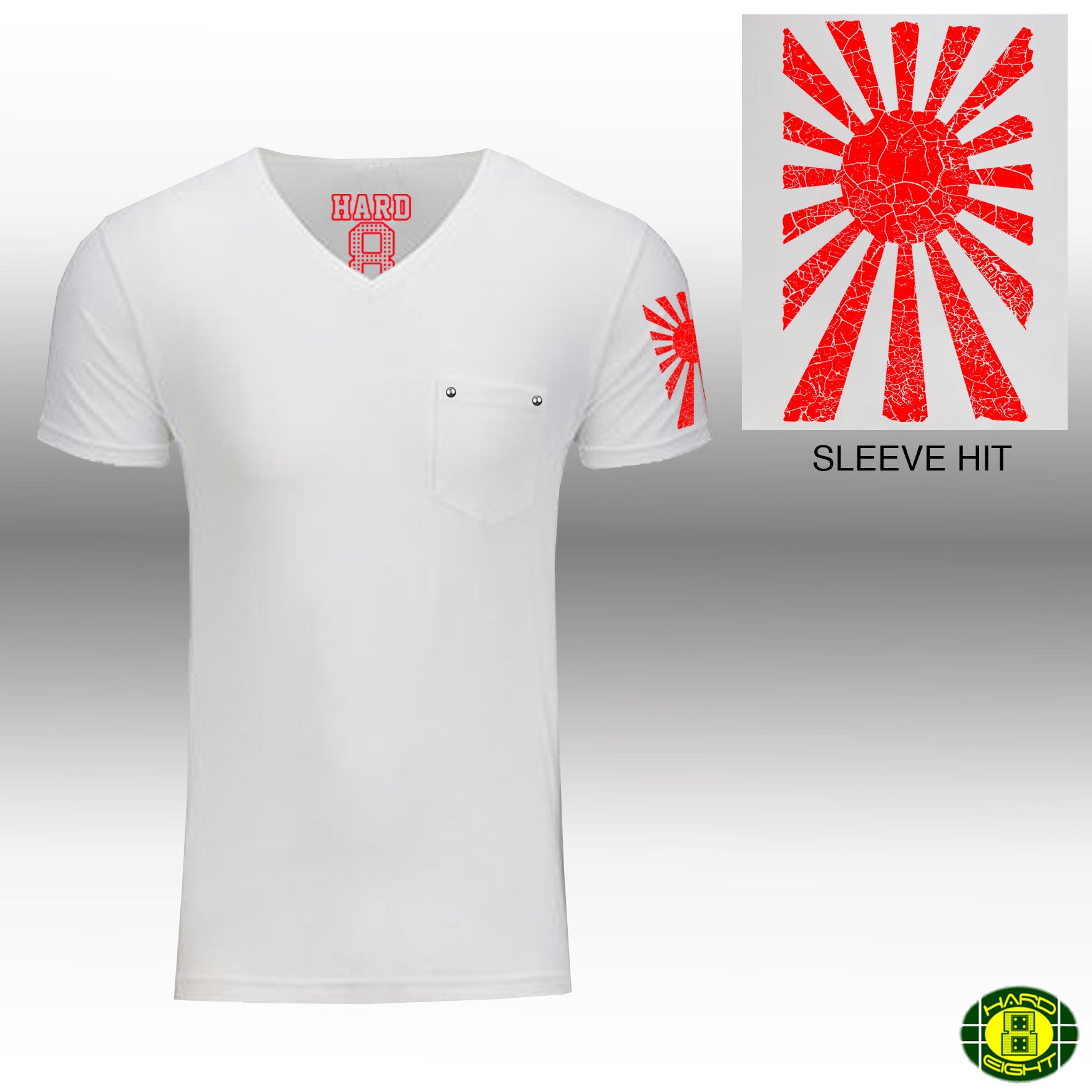 "MEN'S ""RISING SUN SLEEVE"" 1 POCKET V-Neck White/Red"
