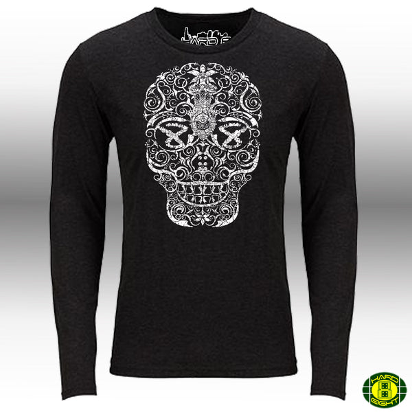 "MEN'S TRI-BLEND LONG SLEEVE CREW ""HAND DRAWN SKULL"" Black Heather SIZE L"
