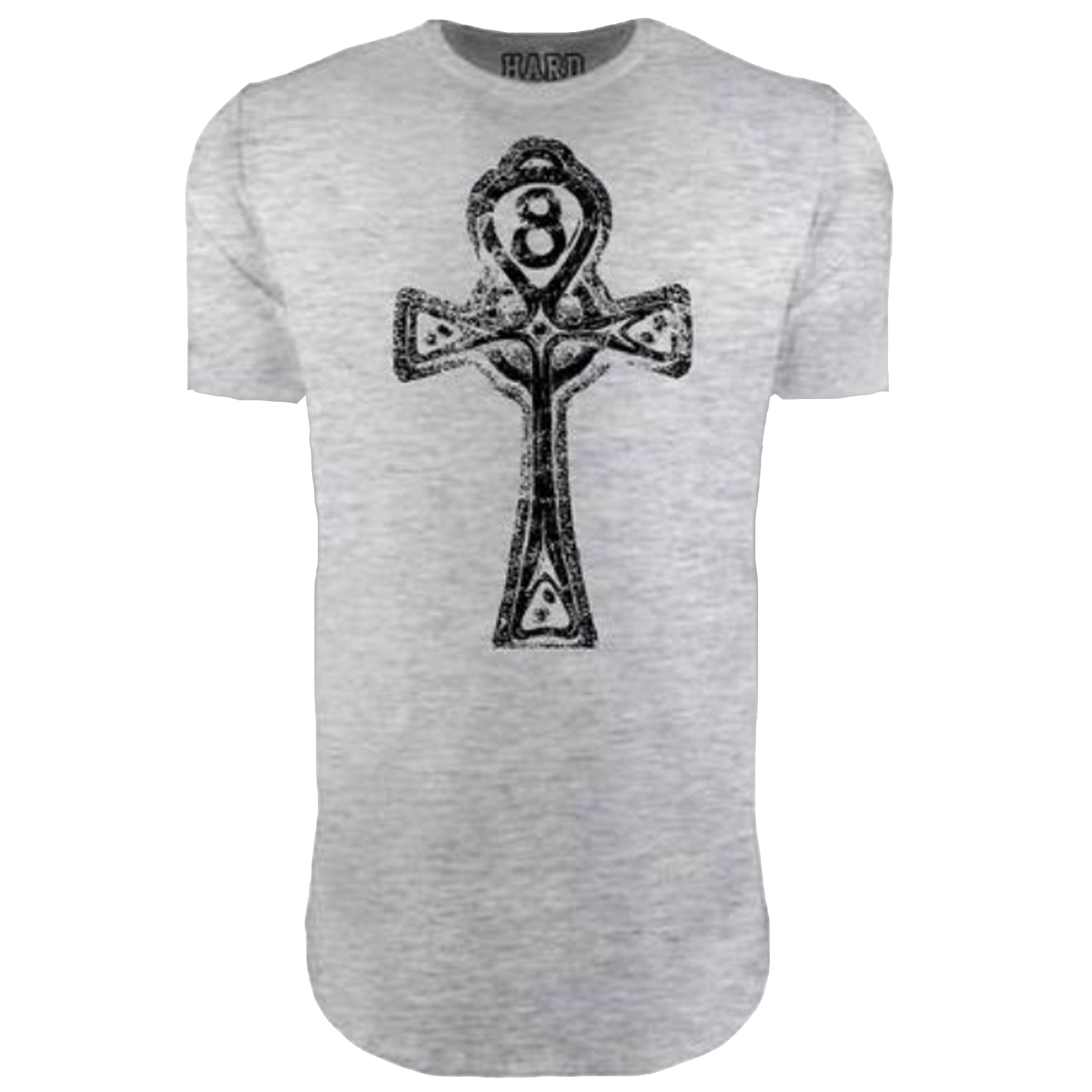 "MEN'S ""ANKH CROSS"" LAUNDERED COTTON  Long Cut Crew-Neck Heather/Blk"