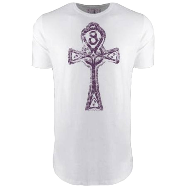 "MEN'S ""ANKH CROSS"" LAUNDERED COTTON  Long Cut Crew-Neck White/Purple"