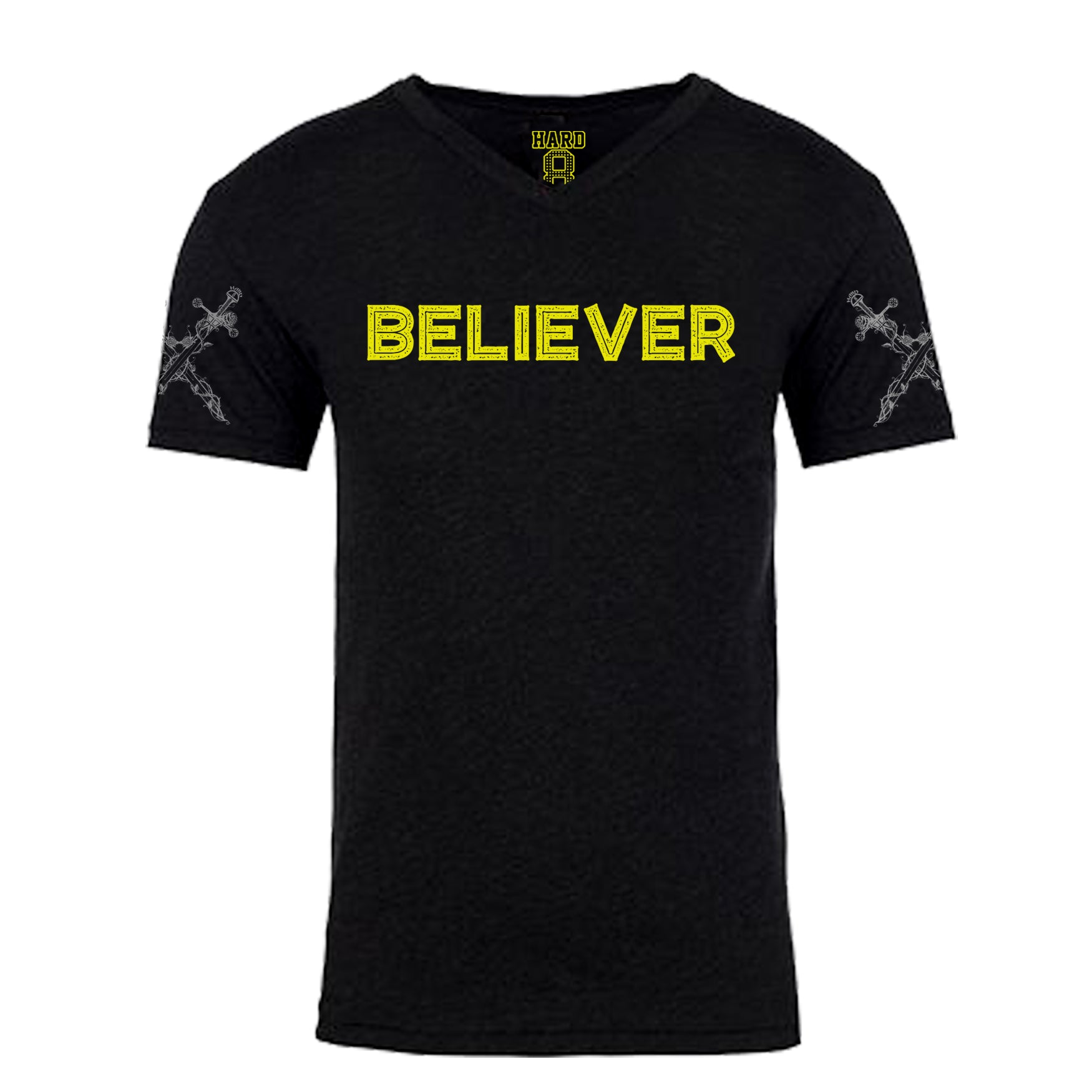 "MEN'S ""BELIEVER/DAGGER"" LAUNDERED TRI-BLEND V-Neck Black Heather"