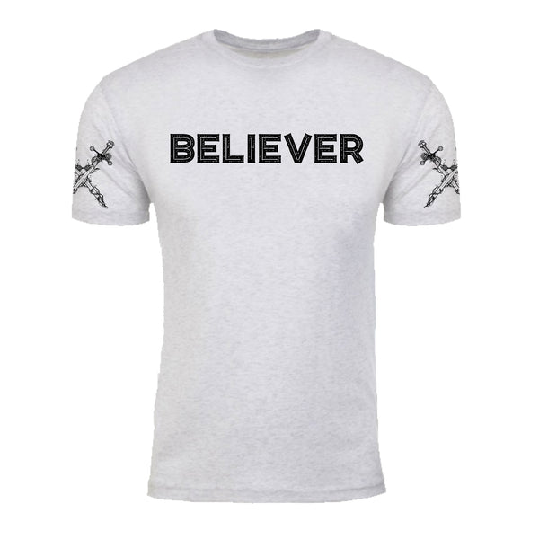 "MEN'S ""BELIEVER/DAGGER"" LAUNDERED TRI-BLEND Crew-Neck Natural Heather"