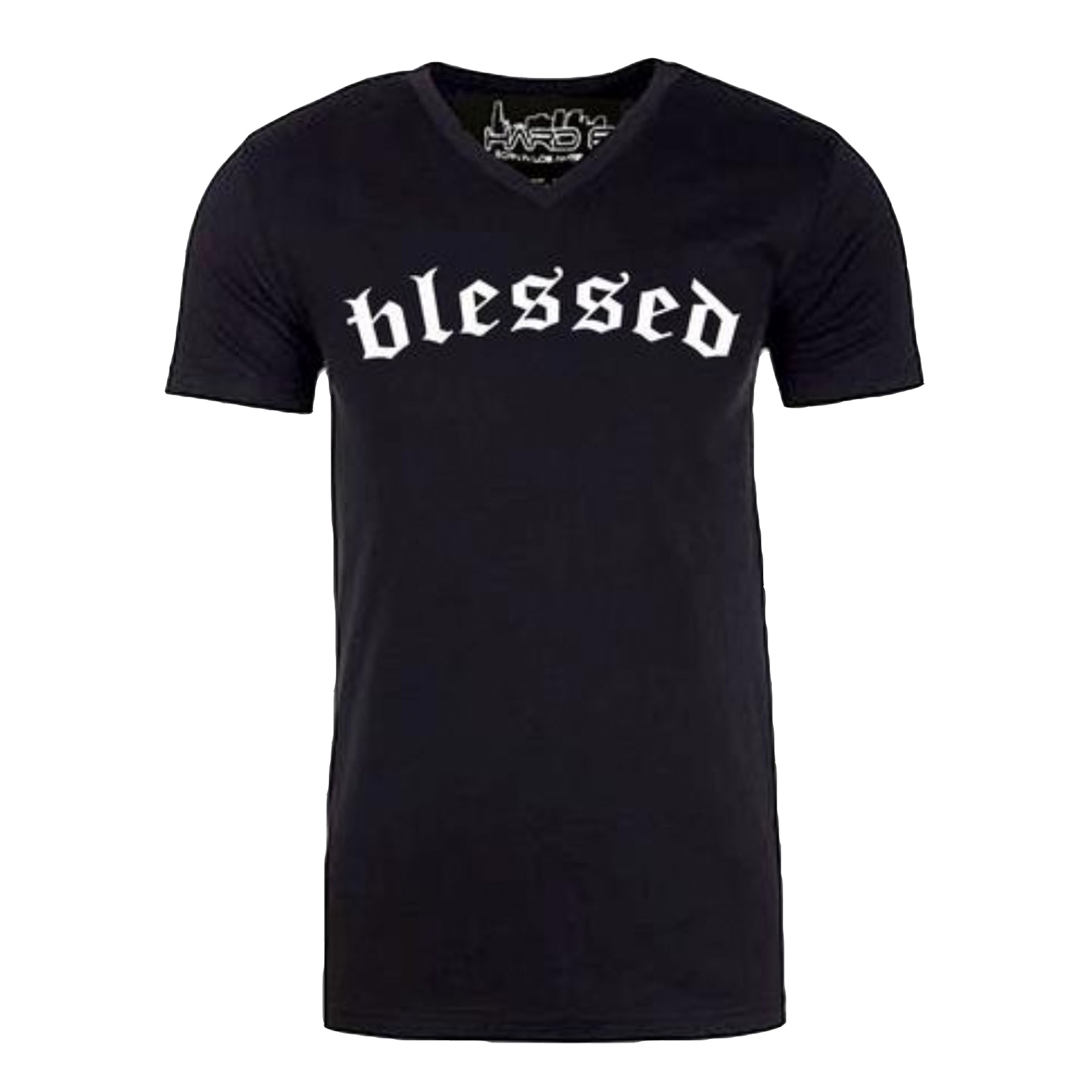 "Men's ""BLESSED"" Ultra Soft Tri-Blend V-Neck Black Heather/White"