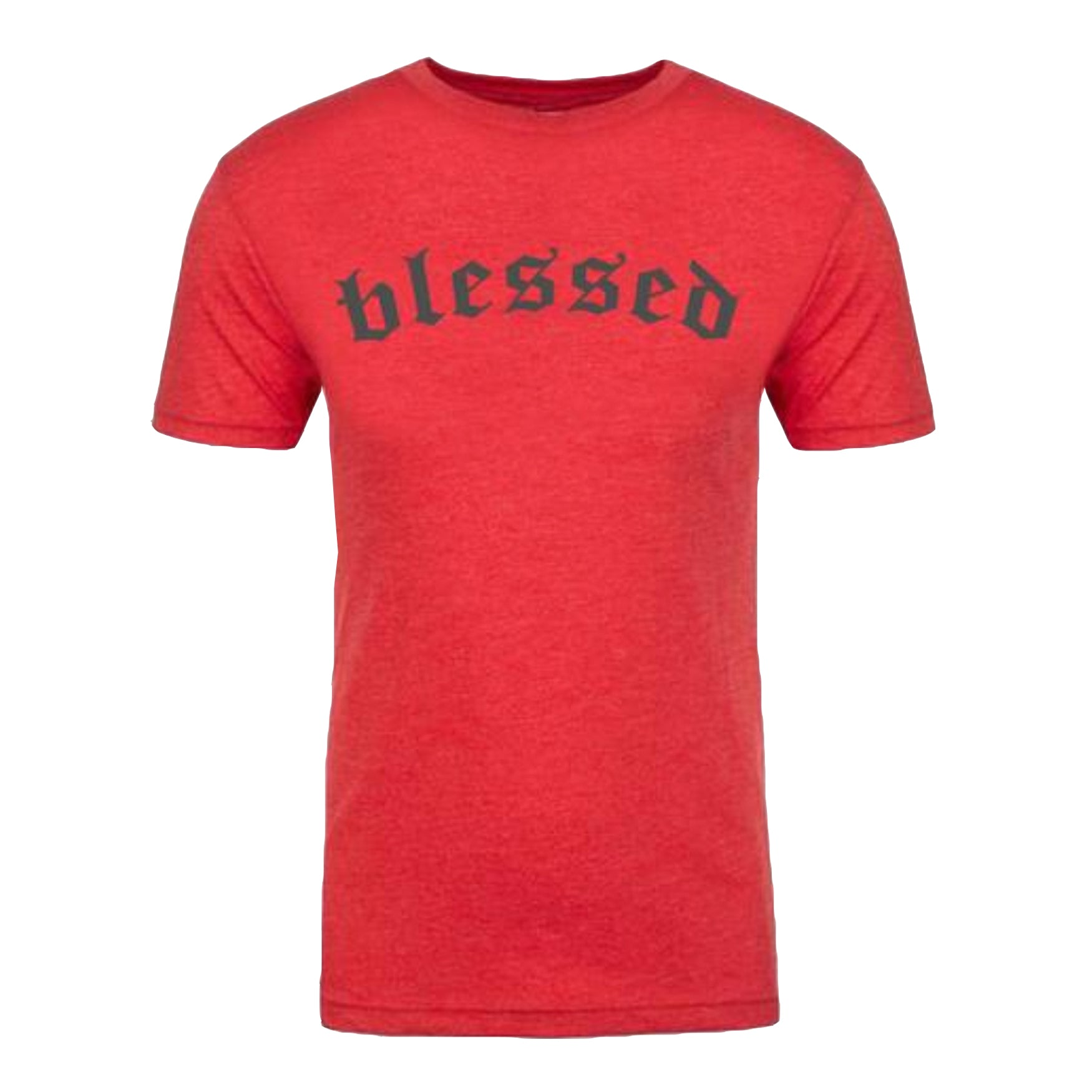 "MEN'S ""BLESSED"" ULTRA-SOFT TRIBLEND Crew-NECK Red Heather/Charcoal"