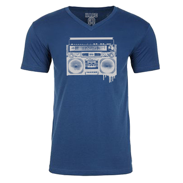 "MEN'S ""BOOMBOX"" SUEDED COTTON BLEND V-Neck Cool Blue"