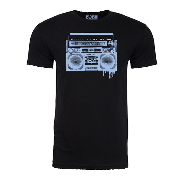 "MEN'S ""BOOMBOX"" SUEDED COTTON BLEND RAW EDGE CREW NECK Black/Lt Blue"