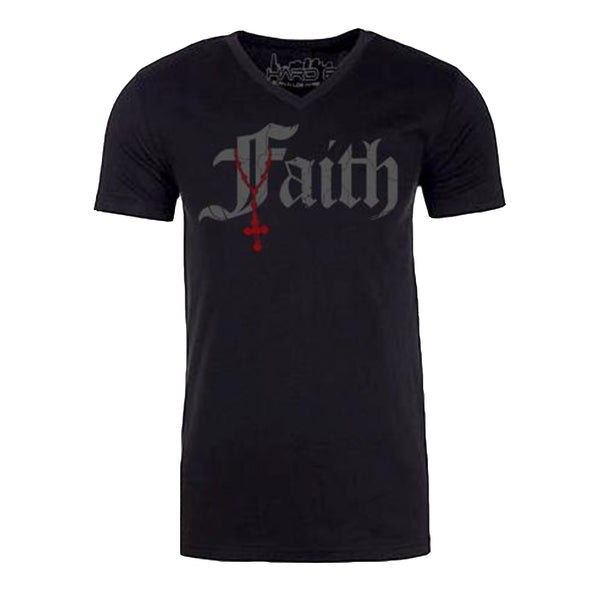 "Men's ""FAITH-CROSS"" Sueded Cotton Blend V-Neck Black"