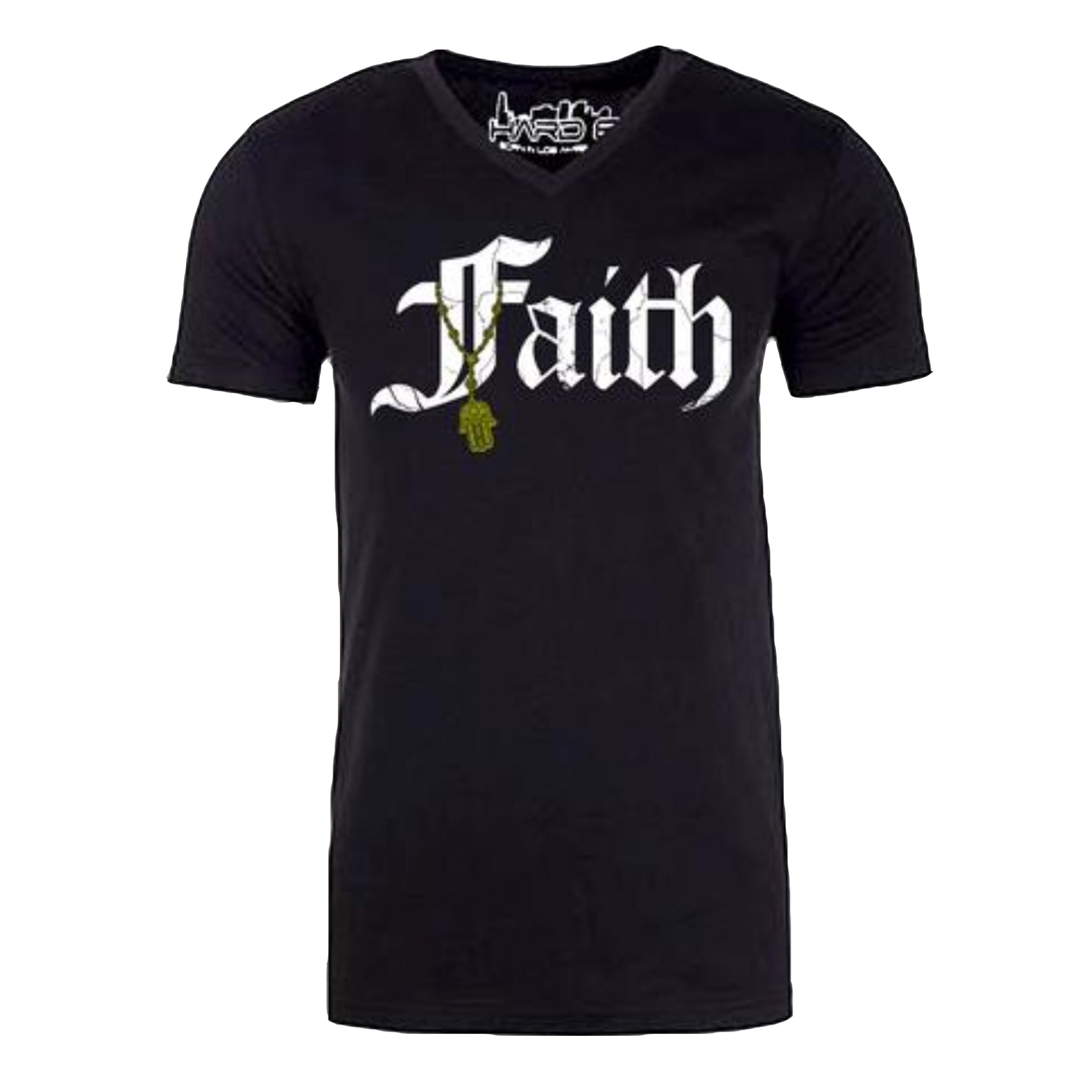"MEN'S ""FAITH-HAMSA"" SUEDED COTTON BLEND V-Neck Black"