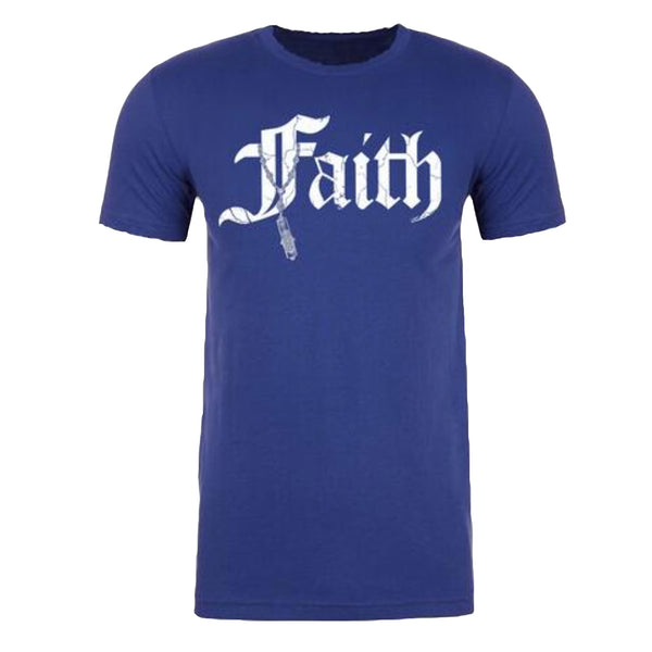 "MEN'S ""FAITH-MEZUZAH"" SUEDED COTTON BLEND Raw Edge Crew-Neck Royal SIZE XL"