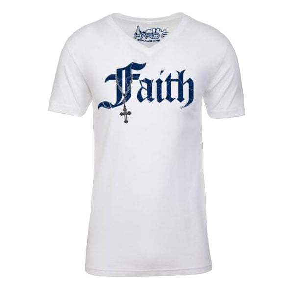 "MEN'S EMBROIDERED ""FAITH-CROSS"" SUEDED COTTON BLEND V-Neck White SIZE L"