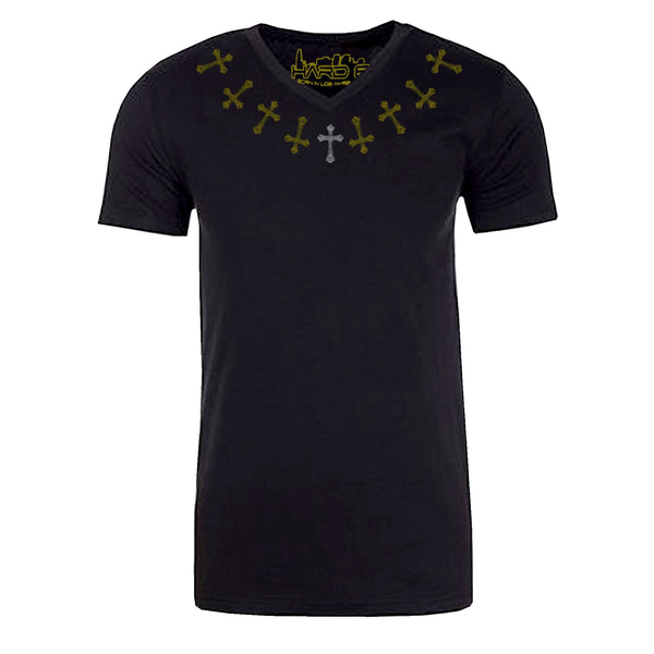 "Men's ""CROSS NECKLINE"" Sueded Cotton Blend V-Neck Black"