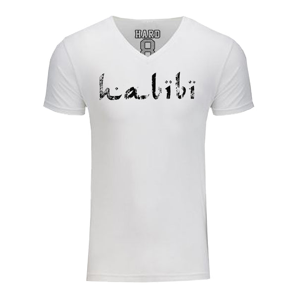 "MEN'S ""HABIBI"" SUEDED COTTON BLEND V-Neck White/Black SIZE M"