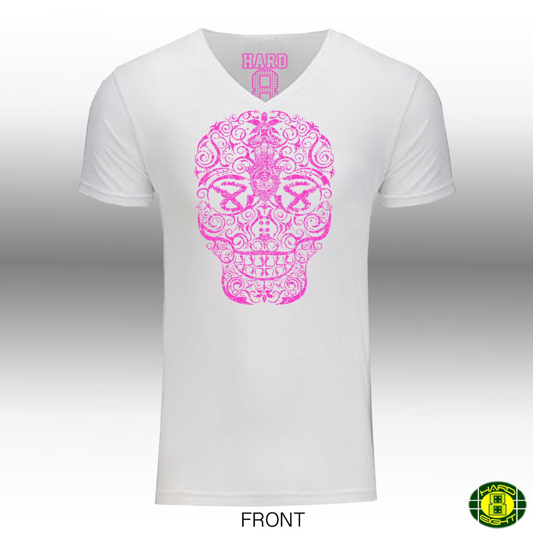 "MEN'S ""HAND DRAWN SKULL"" Cotton Blend V-Neck White/Neon Pink"