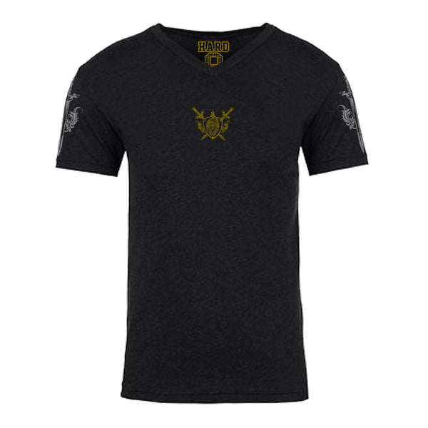 "MEN'S ""LION CREST"" ULTRA-SOFT TRI-BLEND V-NECK Black Heather"