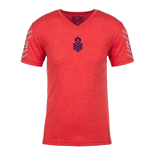 "MEN'S ""MILITARY 8"" ULTRA-SOFT TRI-BLEND V-NECK Red Heather"