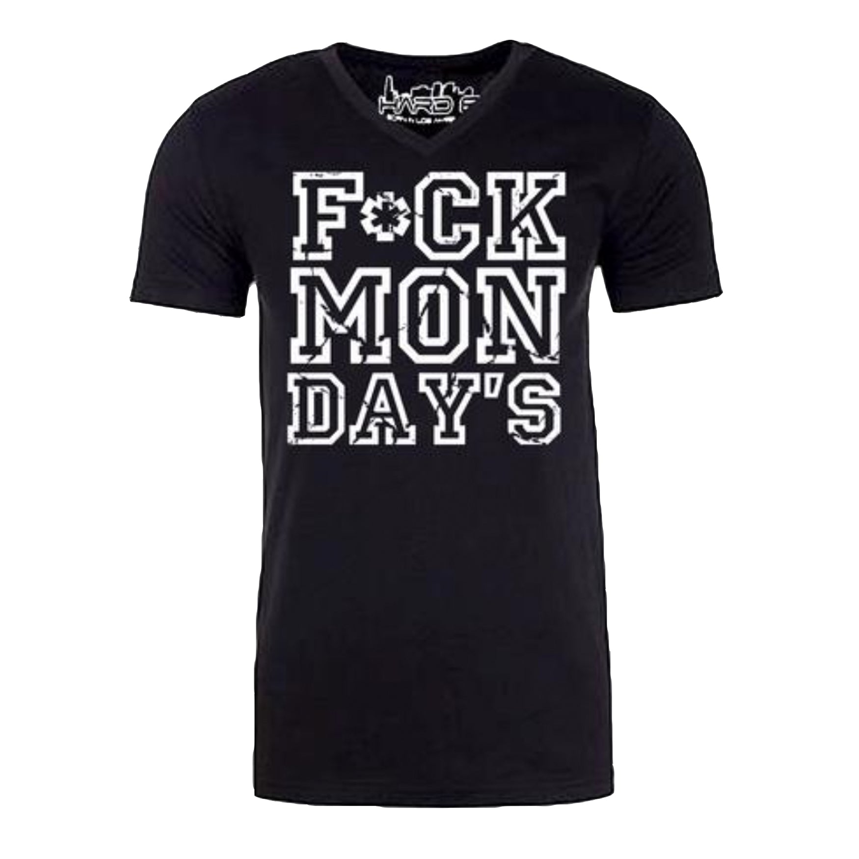 "MEN'S ""F*CK MONDAY'S"" SUEDED COTTON BLEND V-Neck Black/White"