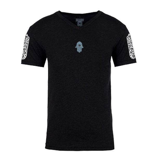 "MEN'S ""MOROCCAN HAMSA"" ULTRA-SOFT TRI-BLEND V-NECK Black Heather"