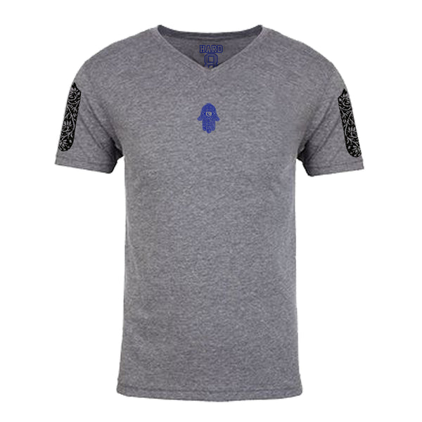 "MEN'S ""MOROCCAN HAMSA"" ULTRA-SOFT TRI-BLEND V-NECK Heather Grey"