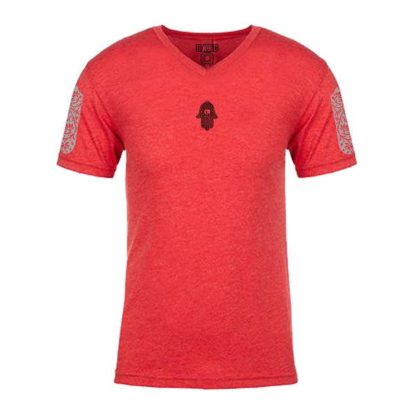 "MEN'S ""MOROCCAN HAMSA"" ULTRA-SOFT TRI-BLEND V-NECK Red Heather"