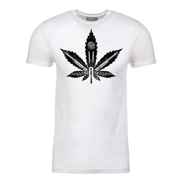 "Men's ""MIC LEAF"" Sueded Cotton Blend Raw Edge Crew Neck White/Black"
