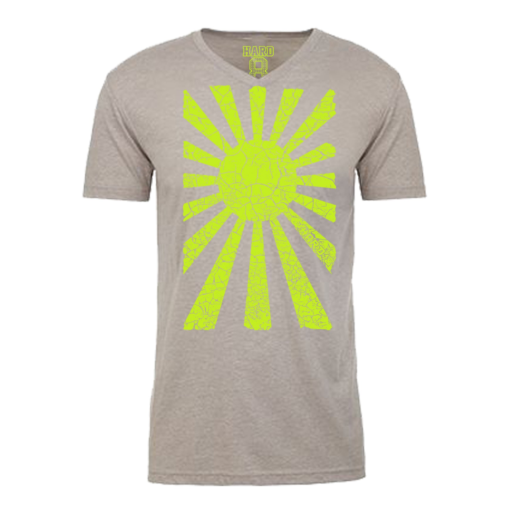 "Men's ""RISING SUN"" Sueded Cotton Blend V-Neck Lt. Heather/Neon Yellow"