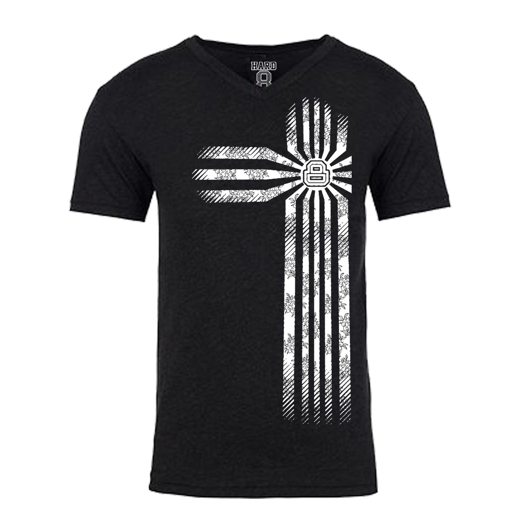 "MEN'S ""FLORAL STRIPE-8"" COTTON BLEND V-Neck Black/White"