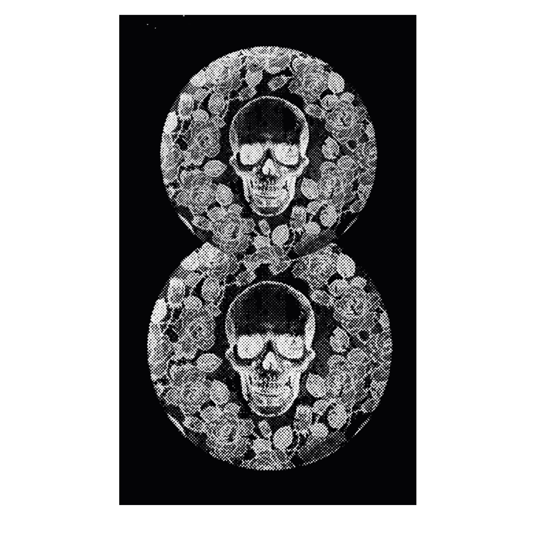 "MEN'S ""FLORAL SKULL-8 SLEEVE HIT"" ULTRA-SOFT TRIBLEND V-Neck Black Heather"