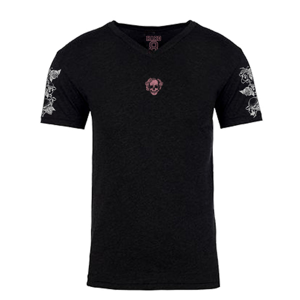 "MEN'S ""ROSE SKULL"" SUEDED COTTON BLEND V-NECK Black"