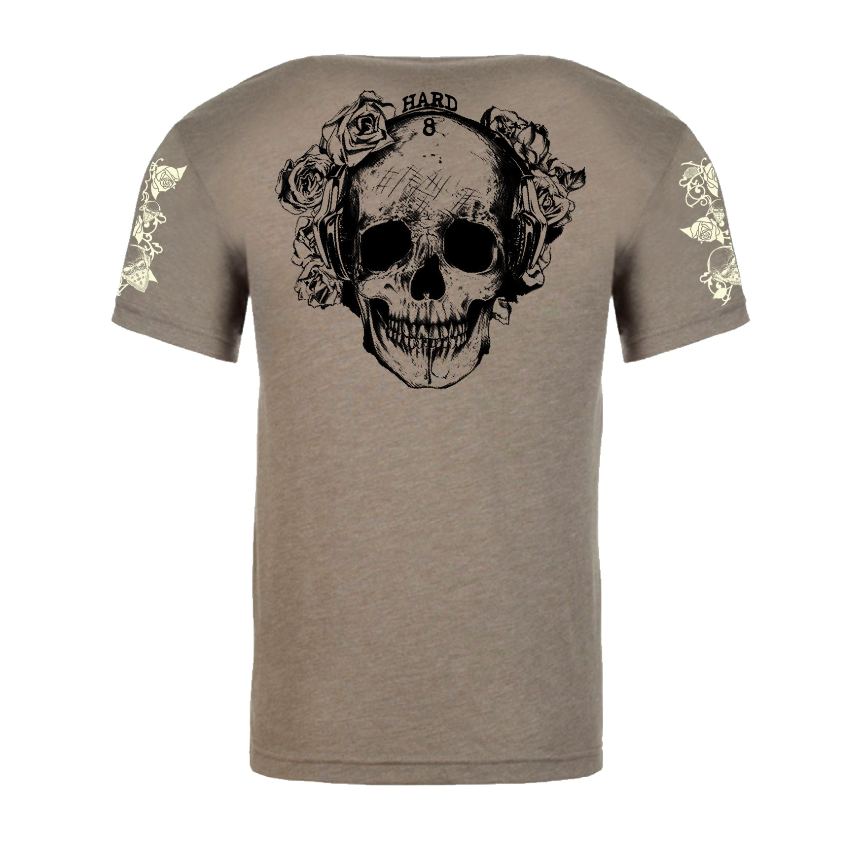 "MEN'S ""ROSE SKULL"" SUEDED COTTON BLEND CREW-NECK Taupe SIZE S"
