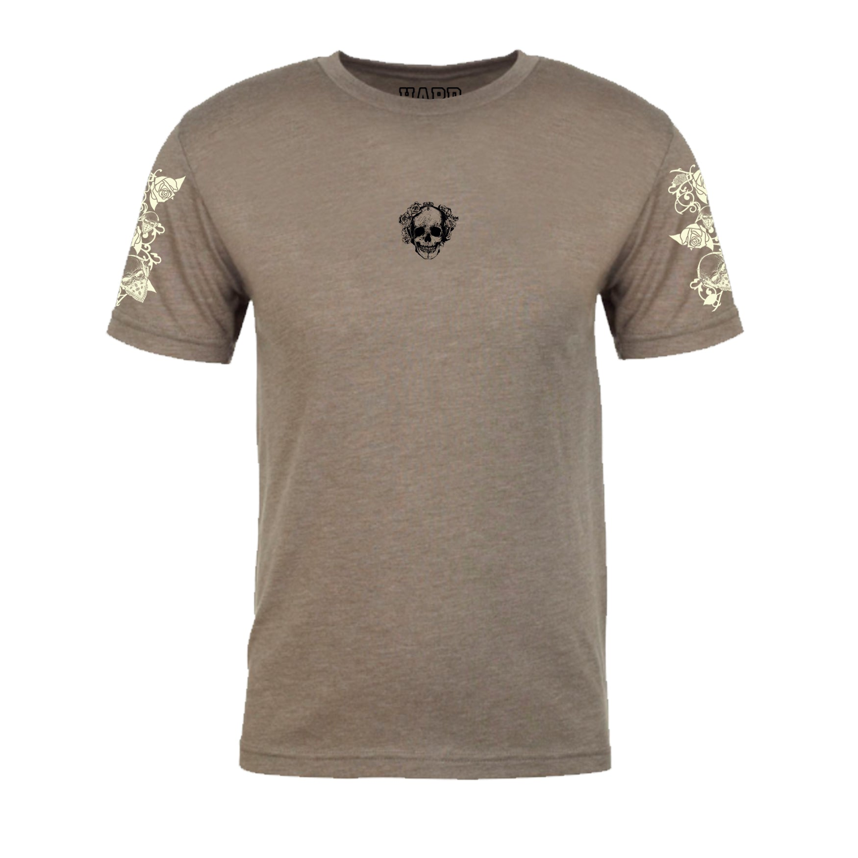 "MEN'S ""ROSE SKULL"" SUEDED COTTON BLEND CREW-NECK Taupe"