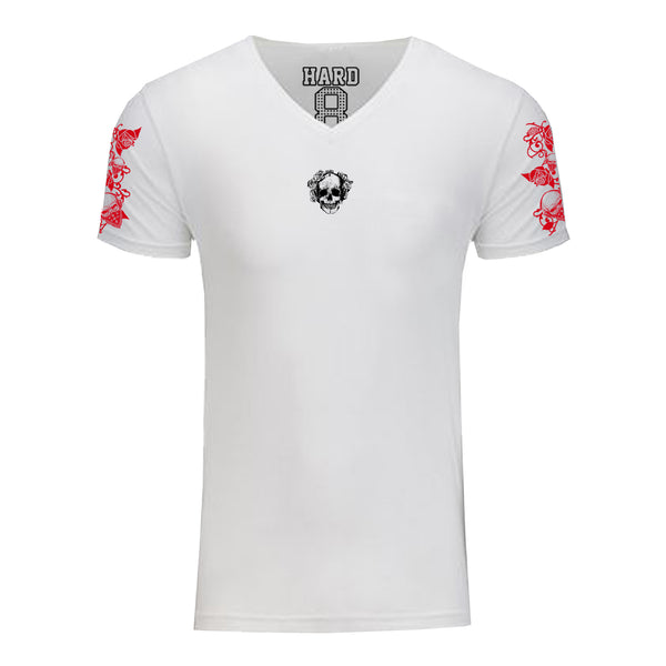 "MEN'S ""ROSE SKULL"" SUEDED COTTON BLEND V-NECK White"