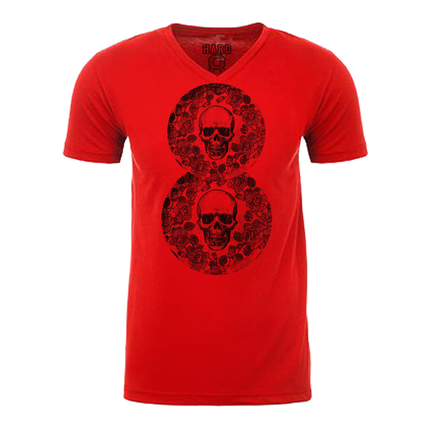 "MEN'S ""FLORAL 8 W/SKULLS"" LAUNDERED COTTON BLEND V-Neck Red/Black"