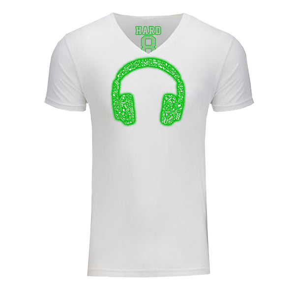 "Men's ""MUSIC HEADPHONES"" Sueded Cotton Blend V-Neck White/Neon Green"