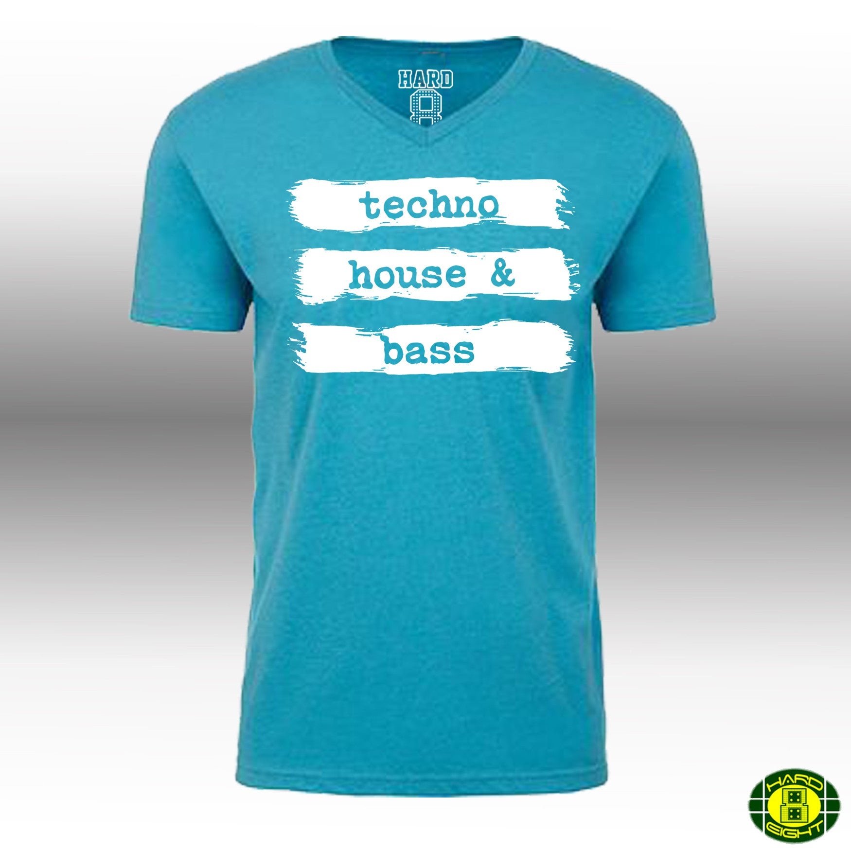 "MEN'S ""TECHNO HOUSE & BASS"" LAUNDERED COTTON BLEND V-Neck Ibiza Blue/White"