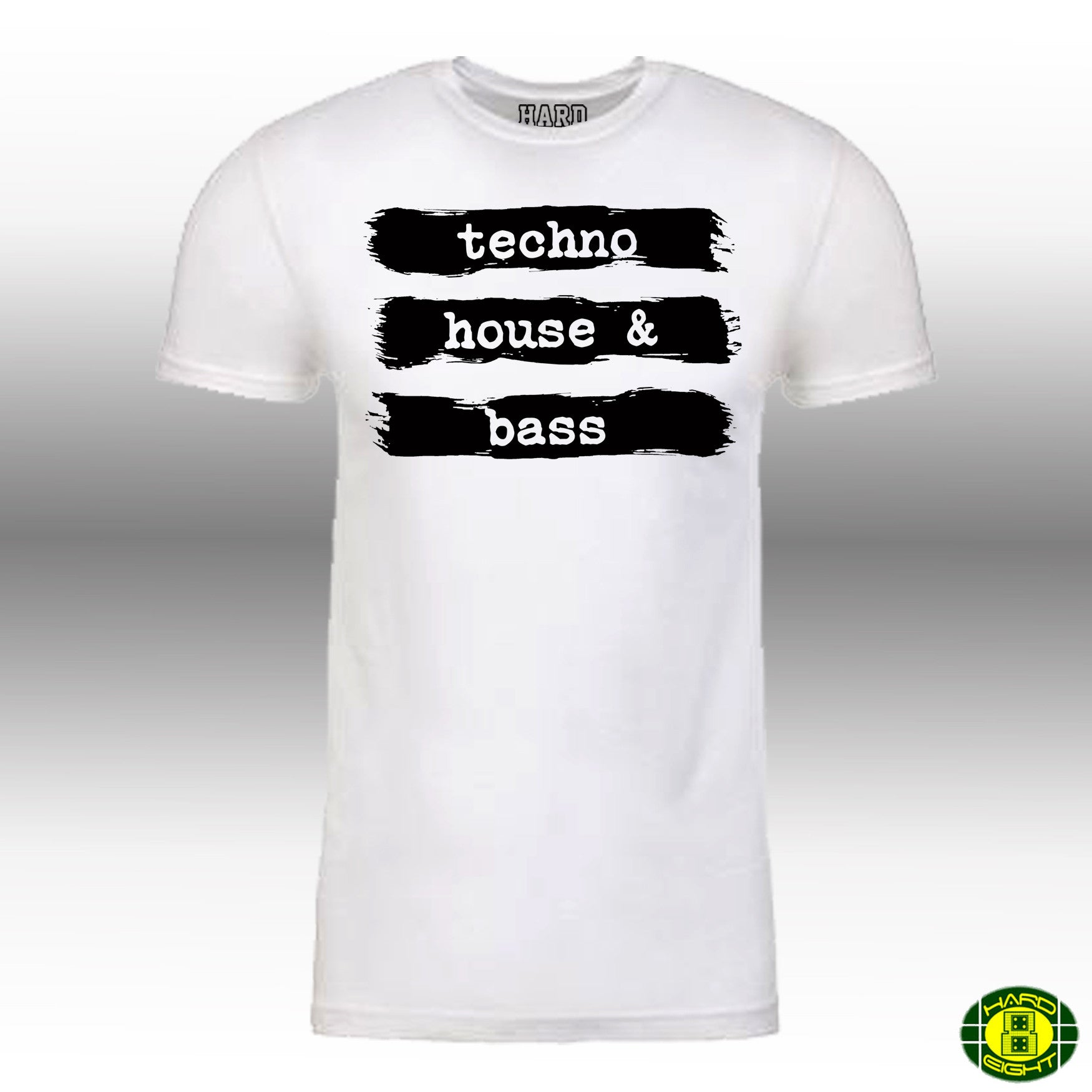 "MEN'S ""TECHNO HOUSE & BASS"" LAUNDERED COTTON BLEND Crew-Neck White/Black"