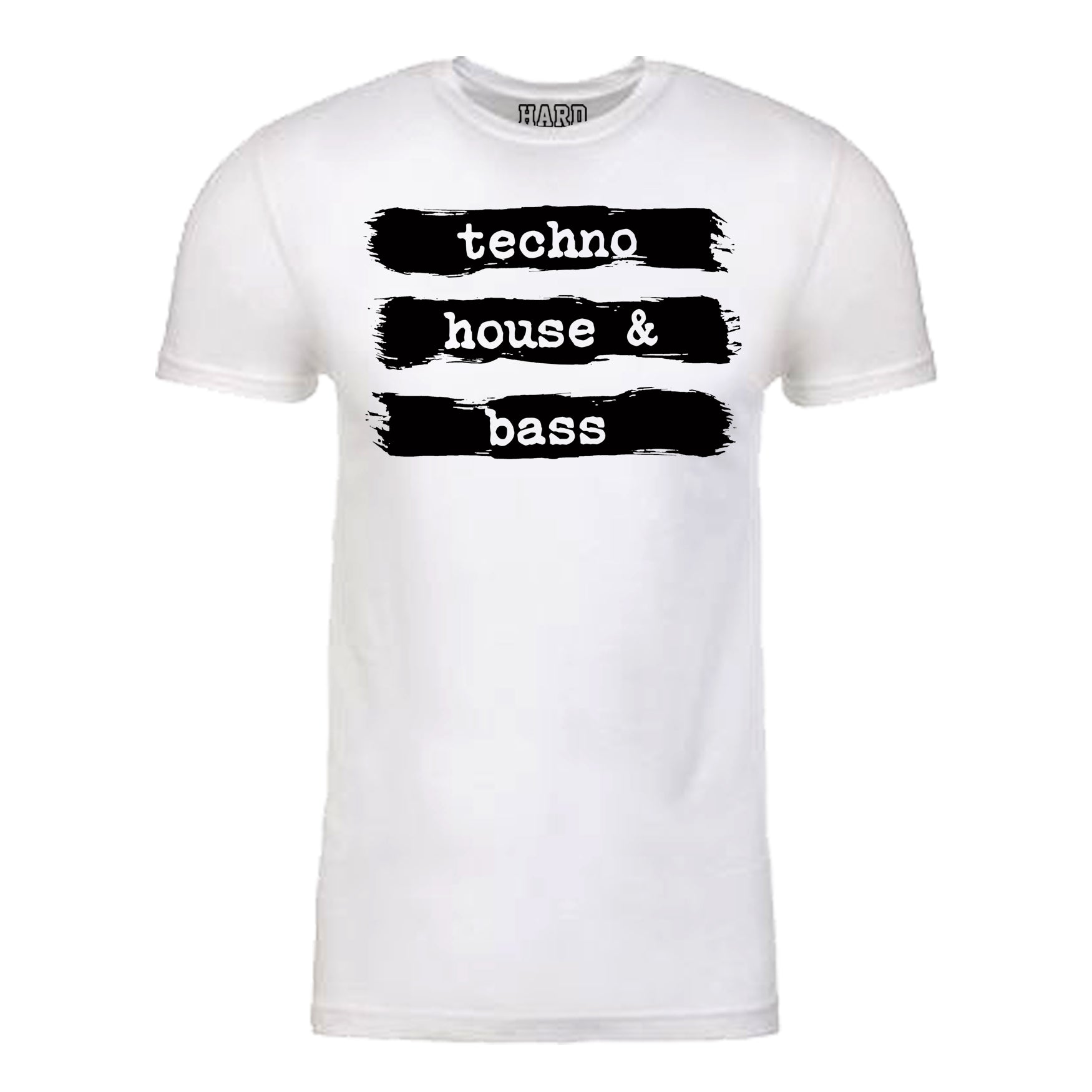 "Men's ""TECHNO HOUSE & BASS"" Sueded Cotton Blend Crew-Neck White/Black"