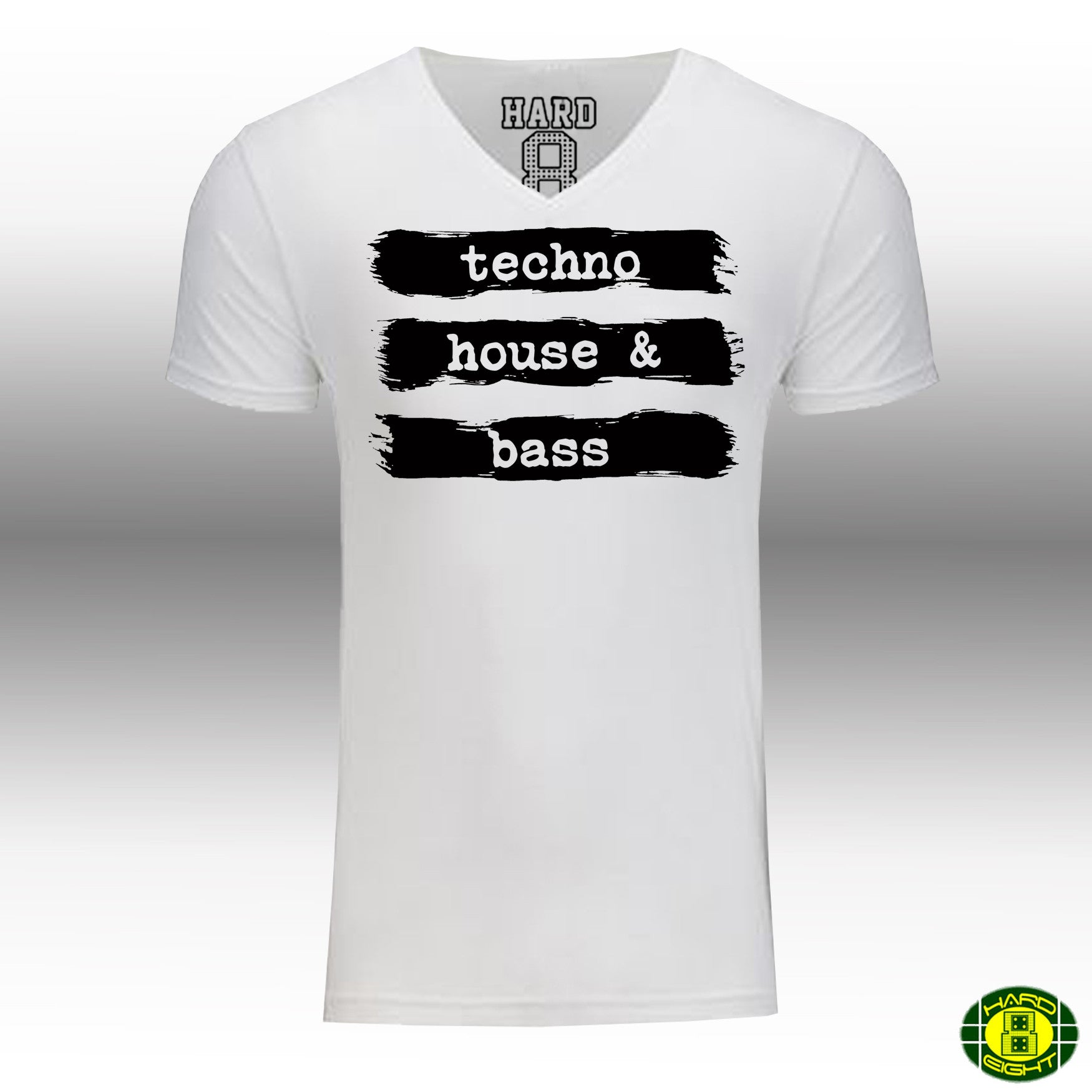 "MEN'S ""TECHNO HOUSE & BASS"" LAUNDERED COTTON BLEND V-Neck White"