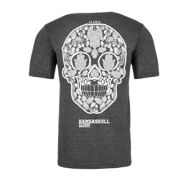 "MEN'S BACK PRINT ""HAMSA SKULL"" Relaxed Fit Crew-Neck Poly Linen Charcoal Heather"