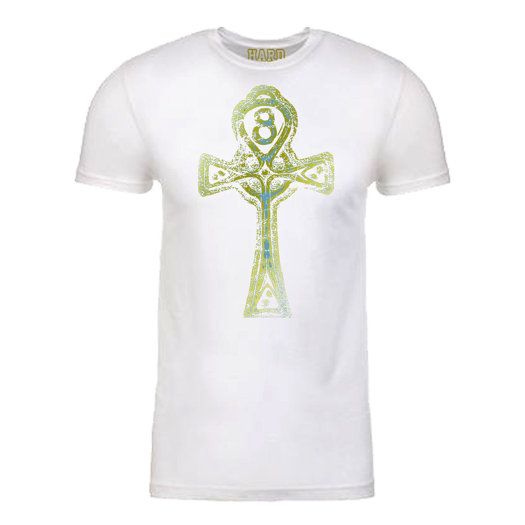 "Men's ""ANKH CROSS"" Sueded Cotton Blend Raw Edge Crew-Neck White/Gold Size M"