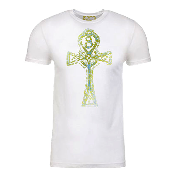 "Men's ""ANKH CROSS"" Sueded Cotton Blend Raw Edge Crew-Neck White/Gold"